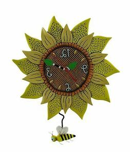 Allen Designs Bee Sunny Sunflower Wall Clock with Bee Pendul