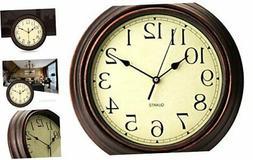 Bekith 12-Inch Round Classic Clock Retro Non Ticking Quartz