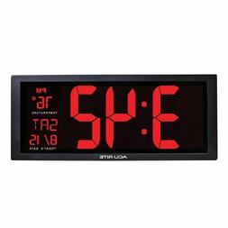 Big Digital Wall Clock LED Display Electronic Temperature Fo