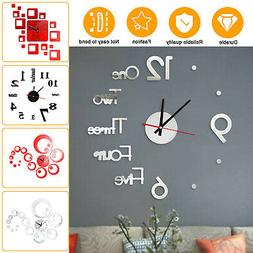 Large Wall Clock Big Watch Decal 3D Stickers Roman Numerals
