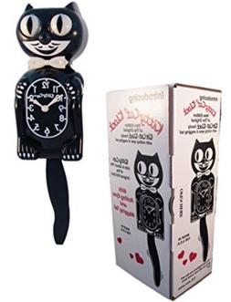 "BLACK KITTY CAT CLOCK  12.75"" Free Battery MADE IN USA Kit-C"