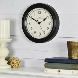 Black Round Wall Clock Analog Traditional Style Home Office