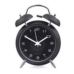 "hito 4"" Black Silent Alarm Clock Battery Operated Night Ligh"