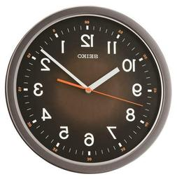 "SEIKO BLACK  WALL CLOCK 12.25"" IN DIAMETER  WITH QUIET SWEEP"
