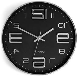 Bernhard Products Black Wall Clock 12 Inch Stylish Modern Si