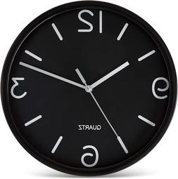 Bernhard Products Black Wall Clock 8 Inch Silent Non Ticking