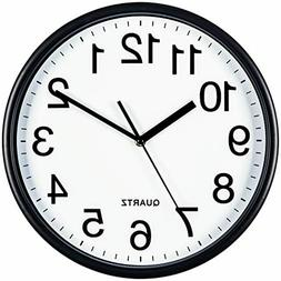 Bernhard Products Black Wall Clock, Large 13-Inch Silent Non