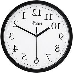 Hippih Black Wall Clock Silent Non Ticking Quality Quartz, 1