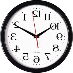 Bernhard Products Black Wall Clock Silent Non Ticking - Asso