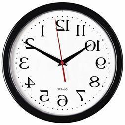 Bernhard Products Black Wall Clock Silent Non Ticking - 10 I