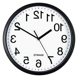 Bernhard Products Black Wall Clock Silent Non Ticking 10 Inc
