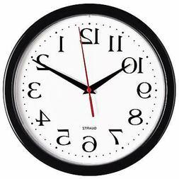 Black Wall Clock - Silent Non Ticking  -10 Inch Quality Quar