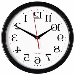 Bernhard Products Black Wall Clock, Silent Non Ticking - 10