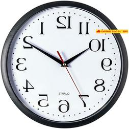 Bernhard Products Black Wall Clock, Silent Non Ticking - 12