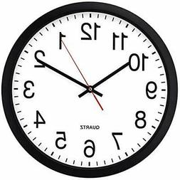 Bernhard Products Black Wall Clock Silent Non Ticking - 16 I