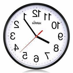 Black Wall Clock Silent Non Ticking Quality Quartz by Hippih
