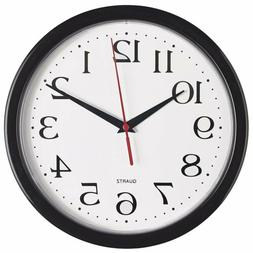Bernhard Products Black Wall Clock Silent Non Ticking Qualit