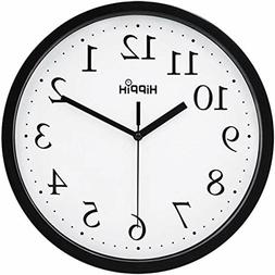 Hippih Black Wall Clock Silent Non Ticking Quality Quartz, 1