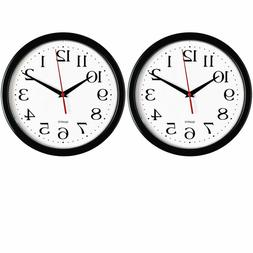 Bernhard Products - Black Wall Clocks, 2 Pack Silent Non Tic