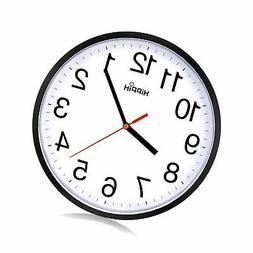 Black Wall Clock Silent Non Ticking Quality Quartz by Hippih