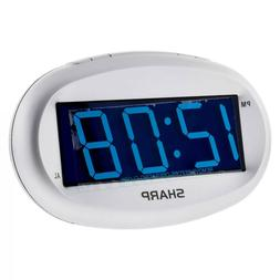Sharp Blue LED Alarm Clock with Dimmer - Silver
