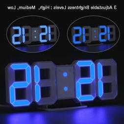 Blue LED Digital 3D Table Wall Clock Dimmer Alarm Snooze Tem