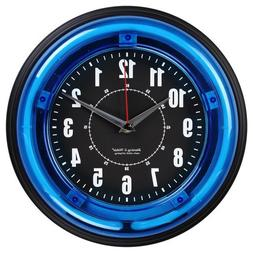 "Blue Neon Clock Wall 11"" Modern New Home Sterling Noble Offi"
