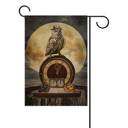 Blue Viper Fantastic Owl King On The Clock Garden Flag Banne
