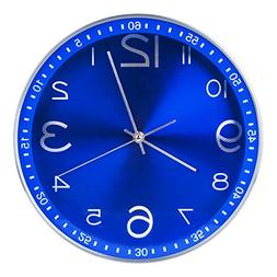 Egundo Blue Wall Clocks Non-ticking Indoor Outdoor 12 Inches