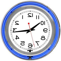 Blue/ White Double Ring Neon Clock