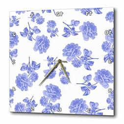3dRose Blue and White Flower Pattern Inspired by Oriental Po
