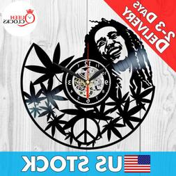 Bob Marley Wall Art Vinyl Record Clock Black Rasta Home Deco