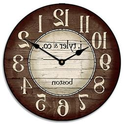 Boston Harbor Brown Wall Clock, Available in 8 Sizes, Most S