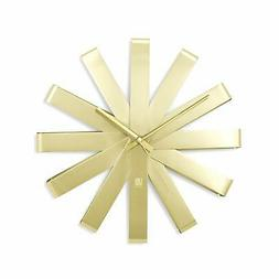 Umbra, Brass Ribbon Modern 12-inch Wall Clock, Silent Non Ti