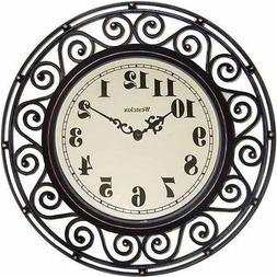 Brown Westclox Wrought Iron Look Decor Wall Clock