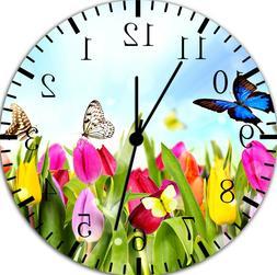Butterfly Flowers Frameless Borderless Wall Clock For Gifts