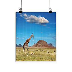 painting-home Canvas Print Wall Art can Savannah with Giraff