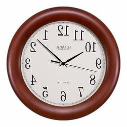 "La Crosse Technology 12"" Cherry Wood Atomic Analog Clock, Re"