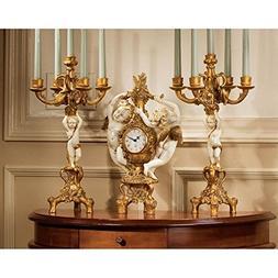 Design Toscano The Cherub's Harvest Clock and Candelabra Ens