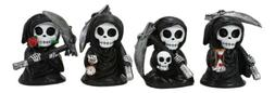 Chibi Grim Reapers With Scythe Holding Hourglass Skull Clock