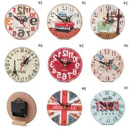 Chic Silent Round MDF Wooden Wall Table Clock Home Cafe Offi