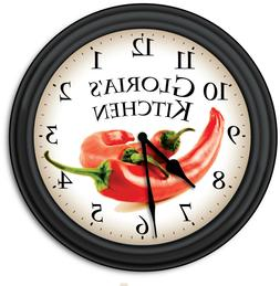 Chili Pepper Kitchen PERSONALIZED Wall Clock - Cooking Chef