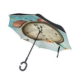 ALAZA Christmas Clock Bird Snow Winter Inverted Umbrella, La