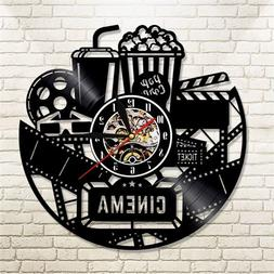 Cinema Wall Clock Black Popcorn Theater Art Movie Snack Bar
