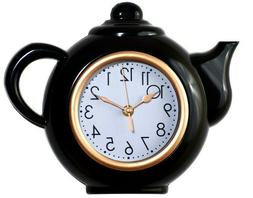 Tea Pot Shaped Wall Clock For Kitchen, Non-Ticking, Black/Wh