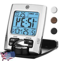 MARATHON CL030023 Travel Alarm Clock with Calendar & Tempera