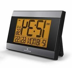 MARATHON CL030052GG Atomic Digital Wall Clock With Auto-Nigh