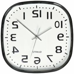 Round Square Wall Clock, Silent Non Ticking ,Quartz Battery,