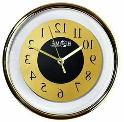 "9"" Modern Wall Clock-Analog Quartz, Golden/Silver Color"