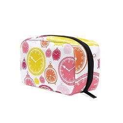 ALAZA Color Clock Makeup Case Bag Appropriate Capacity Porta